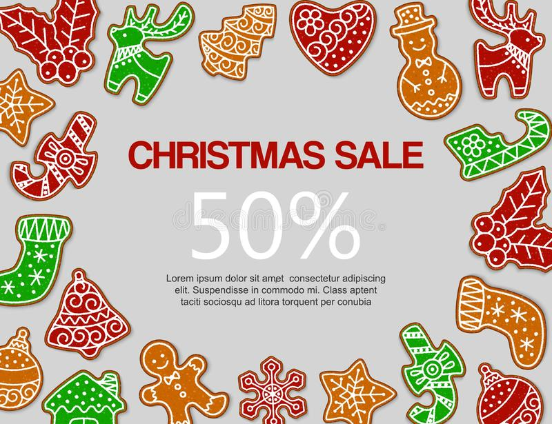 Christmas gingerbread sale vector illustration. Traditional christmas gingerbread snowmen, sock, deer and tree. Decoration and sweets. Design for sale and stock illustration