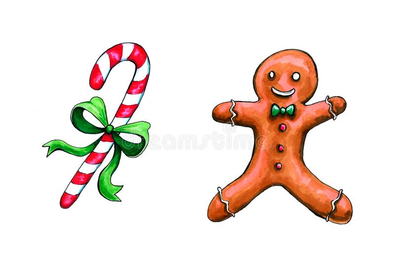 Christmas gingerbread seamless pattern. Ginger cookies on colored background. Watercolor illustration. Cute Xmas background for. Christmas gingerbread seamless royalty free stock photos