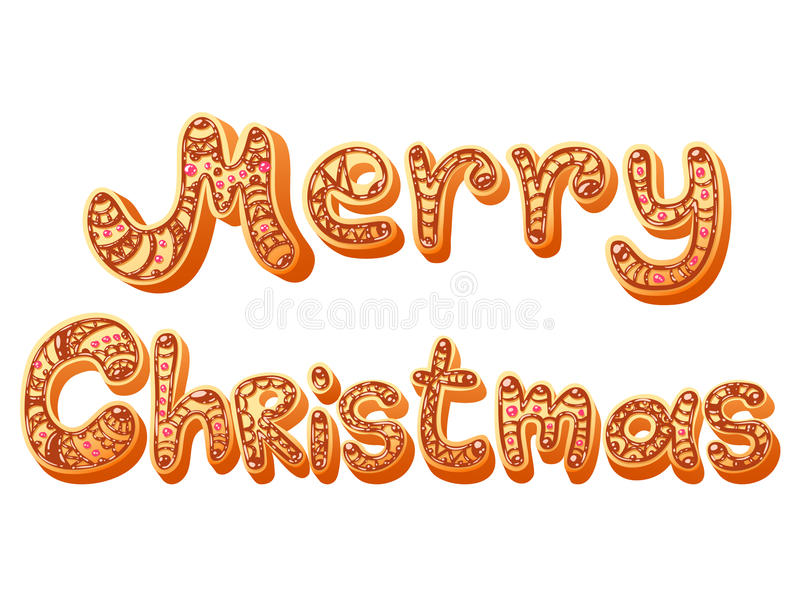Download Christmas Gingerbread Text Letters Sign Isolated Stock Illustration - Image: 43229230
