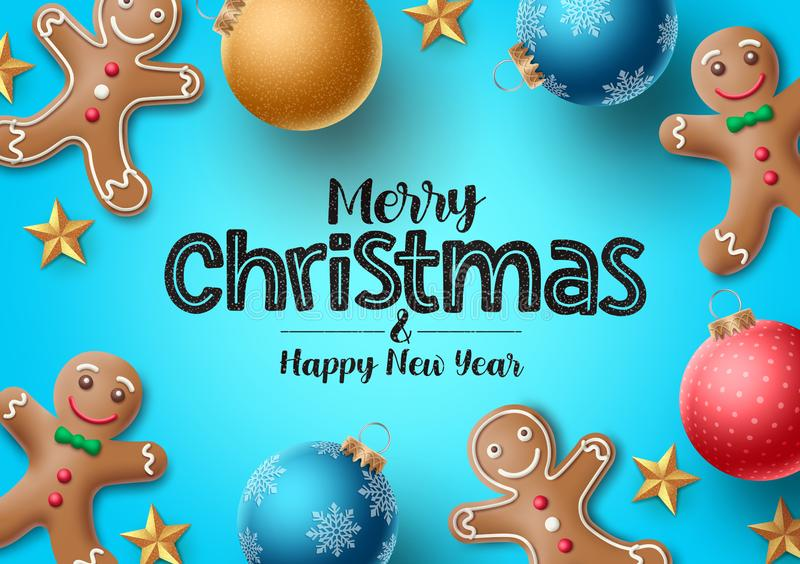 Christmas gingerbread vector background. Merry christmas greeting text. With colorful xmas elements of gingerbread cookie and xmas balls in blue background vector illustration