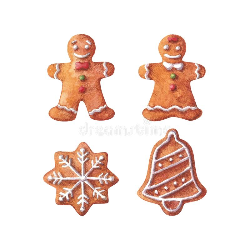 Collection of Christmas watercolor gingerbreads. stock photos