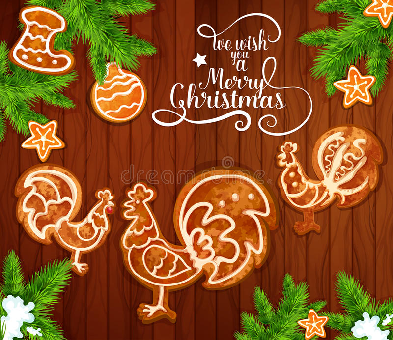 Christmas gingerbread on wooden background. Christmas Day greeting card with xmas tree branches and gingerbread on wooden background. Ginger cookie in shape of vector illustration