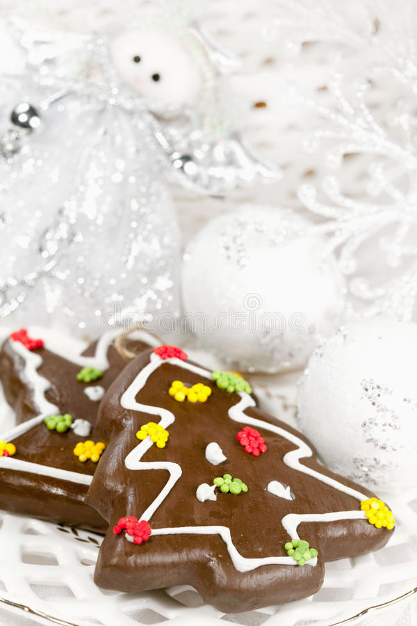 Christmas gingerbreads and decor stock images