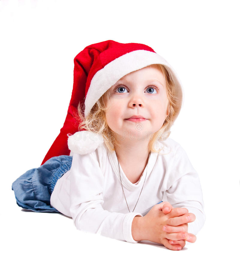 Download Christmas girl stock photo. Image of holding, eyes, santa - 16975446