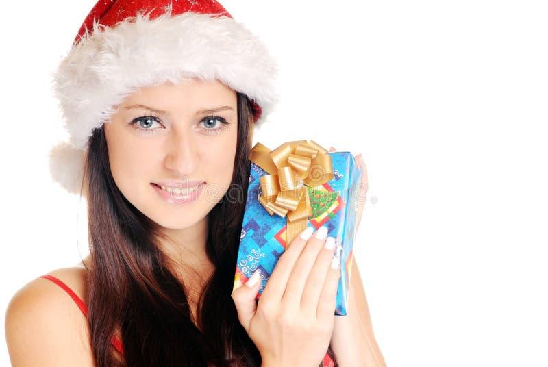 Christmas girl. Beautiful christmas girl over white background royalty free stock image