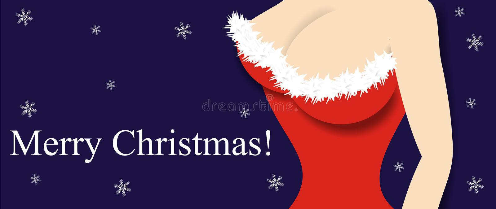 Christmas girl. Comic congratulatory figure with an illustration in the form of a close up of a breast of the woman dressed in a fancy dress, traditional royalty free illustration