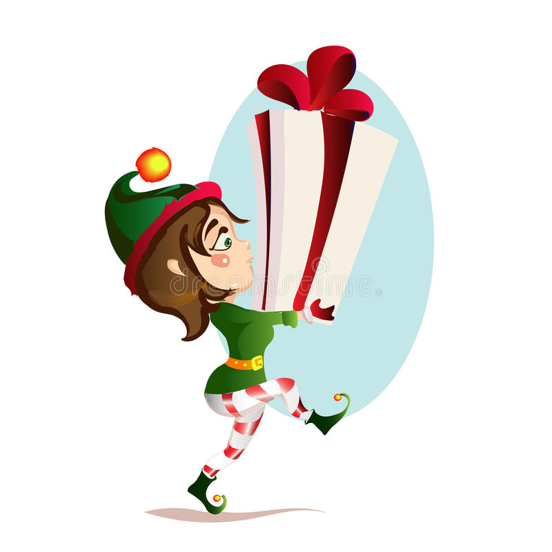 Christmas girl elf is bear to a great gift royalty free stock photography