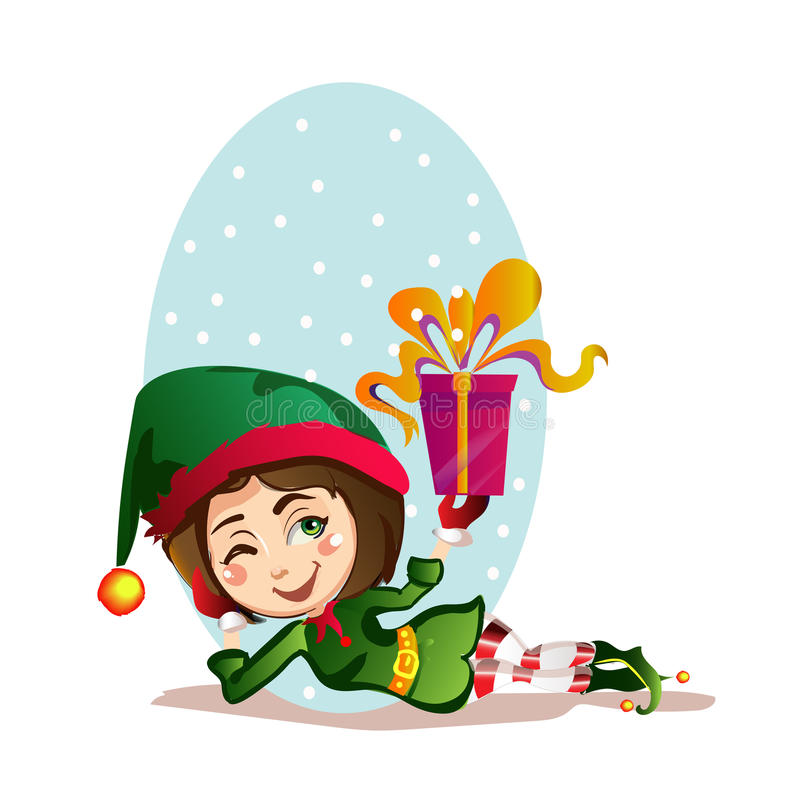 Christmas girl elf rest with a great gift royalty free stock image