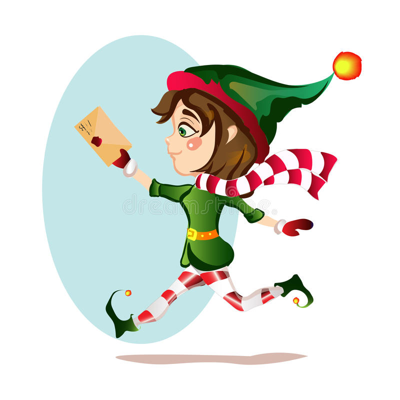 Christmas girl elf runs with magic courtesy letter royalty free stock images