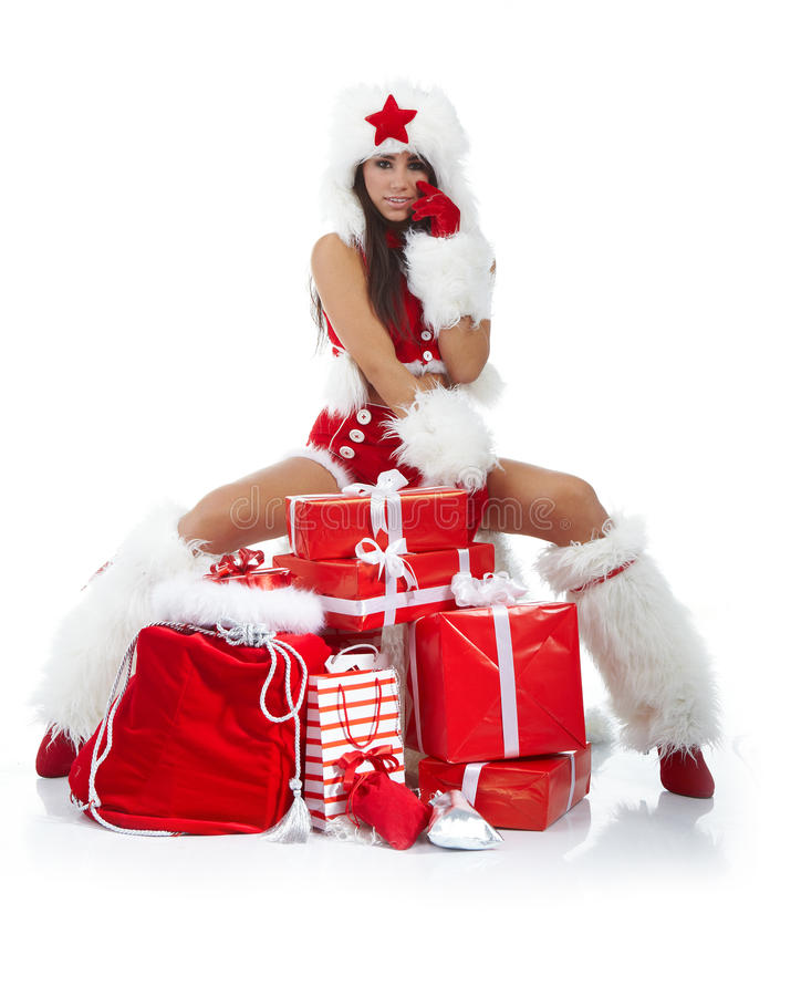Download Christmas Girl With Gifts Royalty Free Stock Images - Image: 17213129