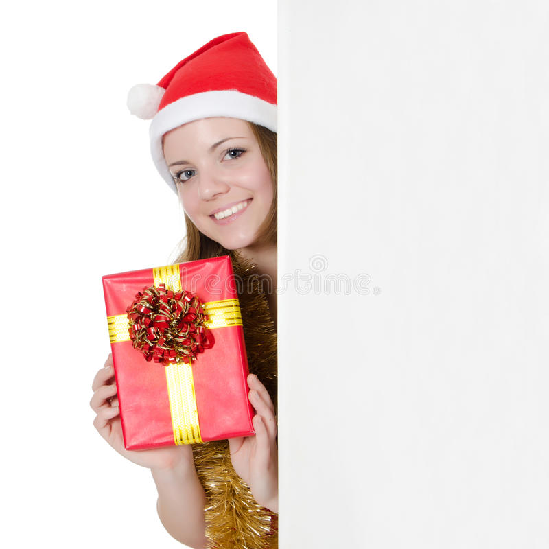 Christmas girl with gifts stock photo