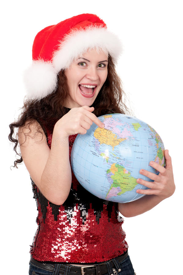 Download Christmas girl with globe stock image. Image of holding - 21628675