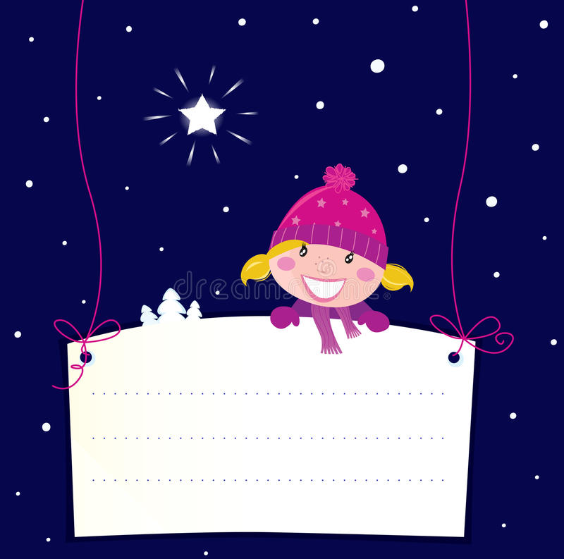 Download Christmas Girl Holding Banner Sign Stock Vector - Image: 16594100