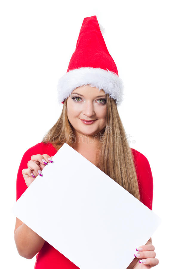 Download Christmas Girl Holding Empty Board Stock Photo - Image: 22173018