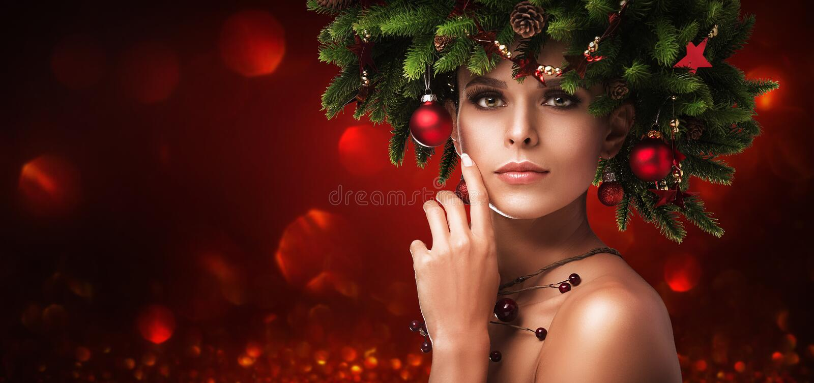 Christmas Girl Makeup. Winter hairstyle stock images