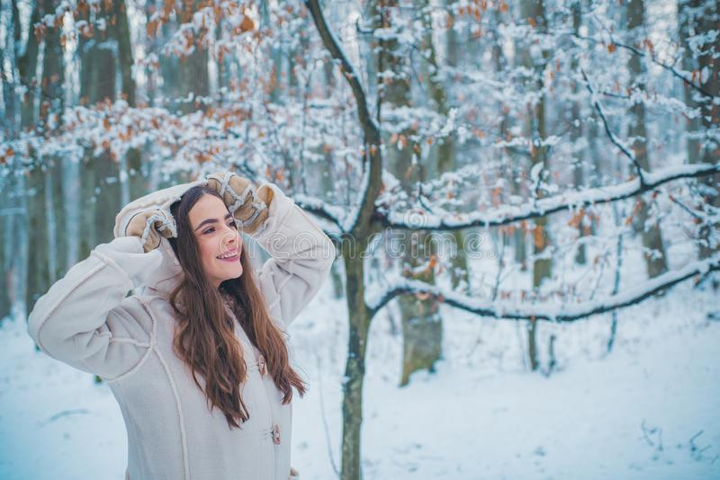 Christmas girl outdoor portrait. women on mountain. Winter emotion. Images for winter. Global cooling. royalty free stock image