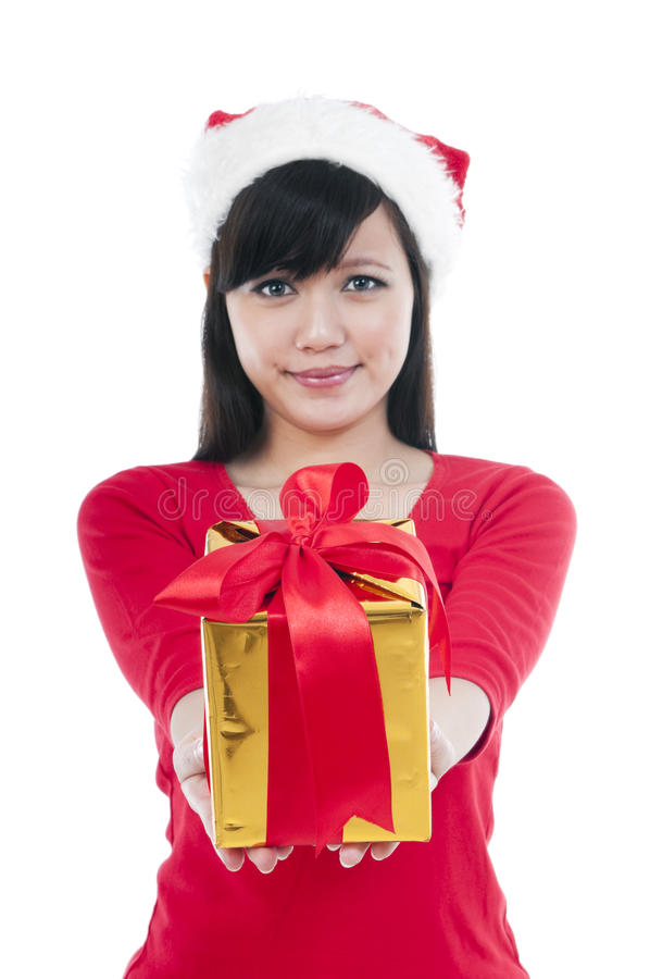 Download Christmas Girl Presenting Gift Stock Photo - Image of casual, attractive: 21560966