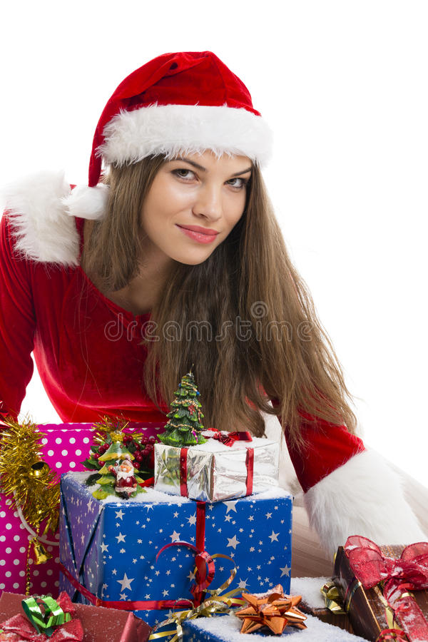 Christmas girl and presents stock images