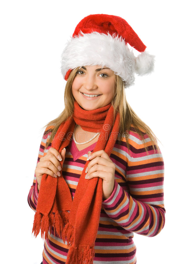 Christmas Girl In Red Hat Stock Image