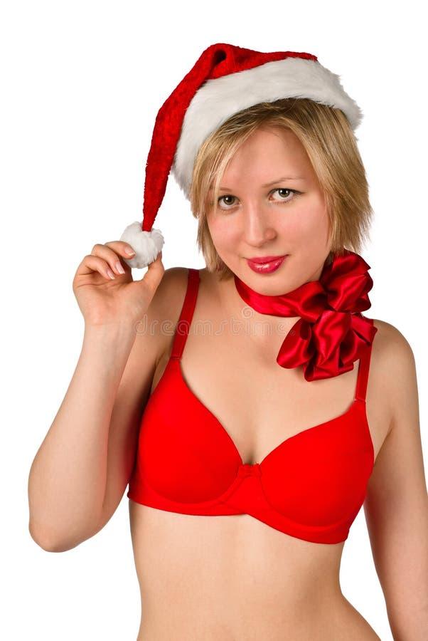 Download Christmas Girl In Red Santa Hat Stock Image - Image: 20846693
