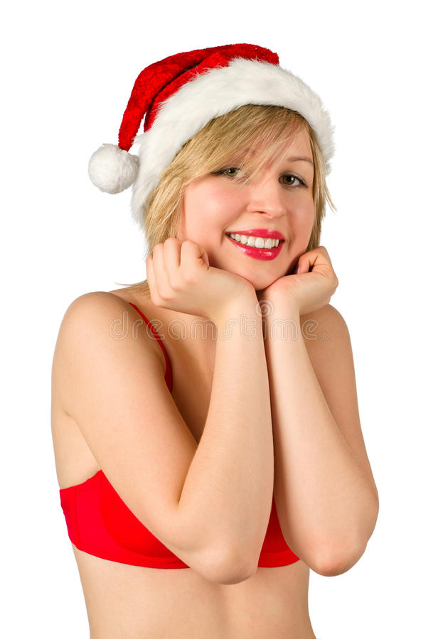 Download Christmas Girl In Red Santa Hat Stock Image - Image: 20938747