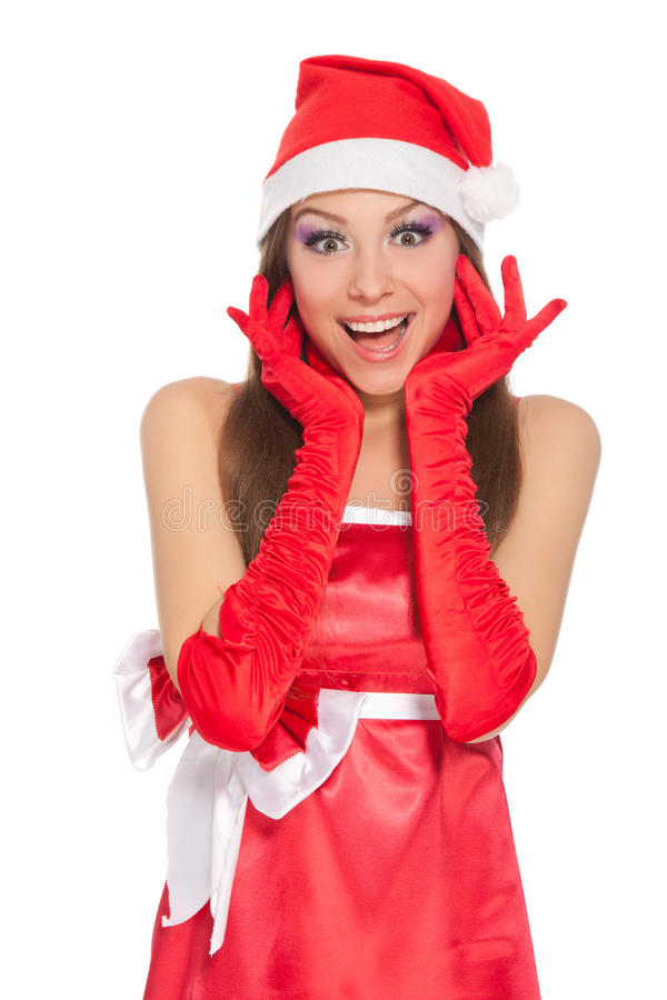 Download Christmas Girl In Red Santa Hat Stock Photo - Image: 22216102