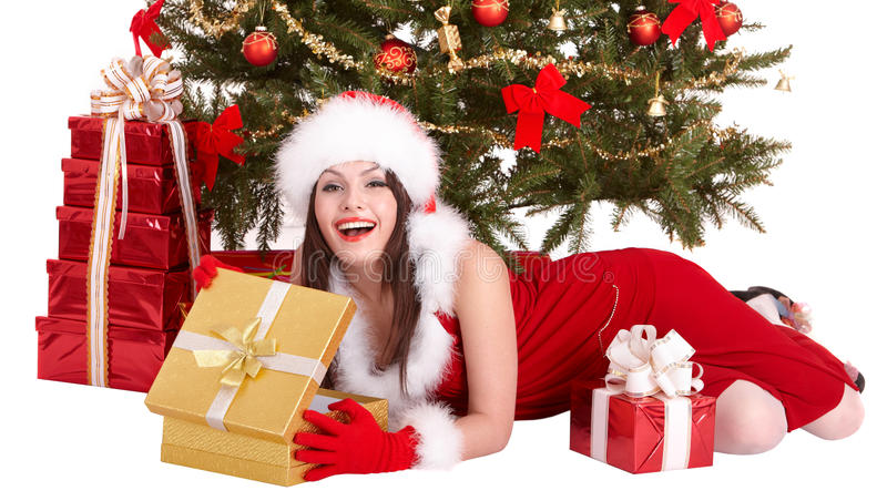 Download Christmas Girl In Santa Hat, Fir Tree, Gift Box . Stock Image - Image: 12066299