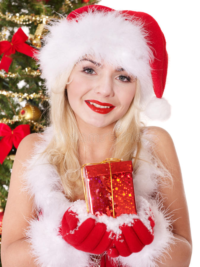 Download Christmas Girl In Santa Hat Holding Red Gift Box. Stock Photo - Image: 17168956