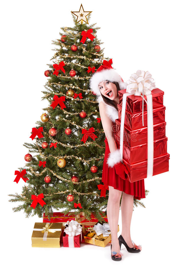 Download Christmas Girl In Santa Holding Stack Gift Box. Stock Photo - Image: 17143286