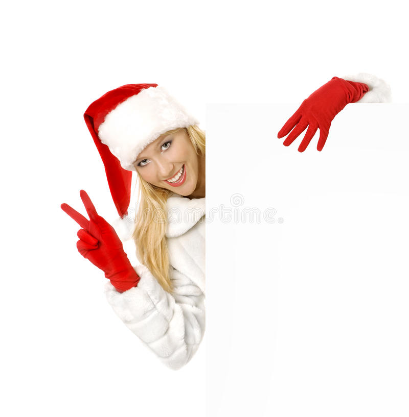 Christmas Girl Shows Sign Victory a Advertising Space. Christmas Pin-up Girl, Shows Sign Victory a Advertising Space stock photography