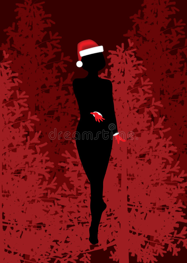 Download Christmas girl silhouette. stock vector. Image of landscape - 7109805