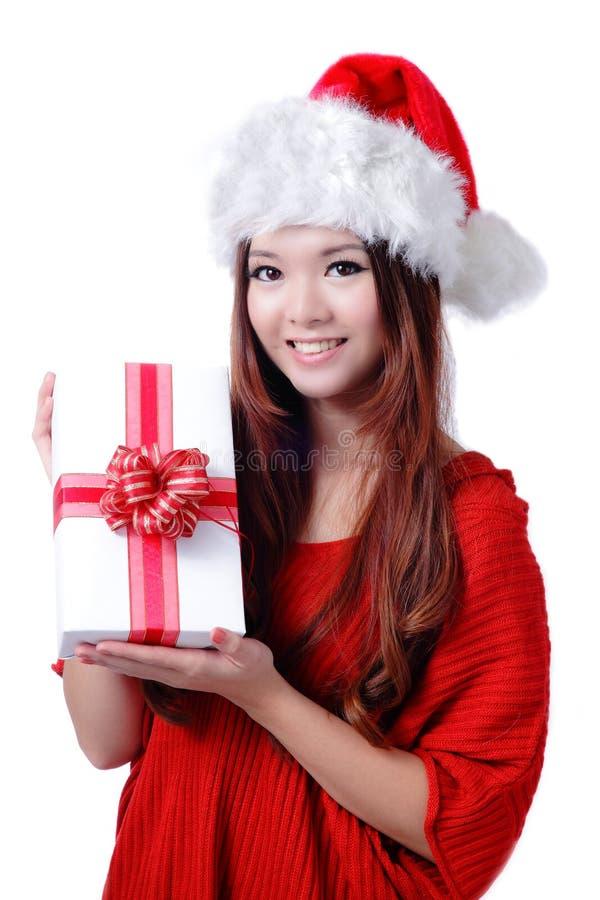 Download Christmas Girl Smile Holding Gift Box Stock Image - Image of holiday, beautiful: 22394393
