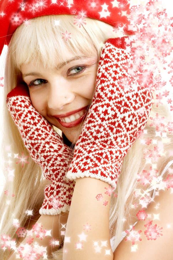 Christmas girl with snowflakes stock photography