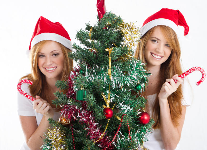 Download Christmas girls stock image. Image of cane, females, cutout - 16667145
