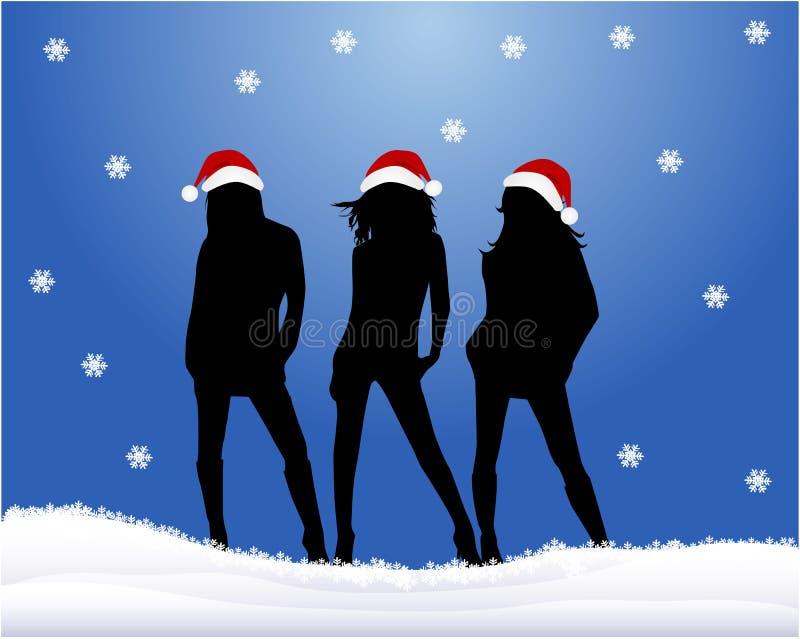 Christmas Girls - blue background. Vector royalty free illustration
