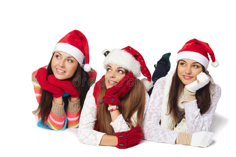 Christmas girls looking at blank copy space stock photos