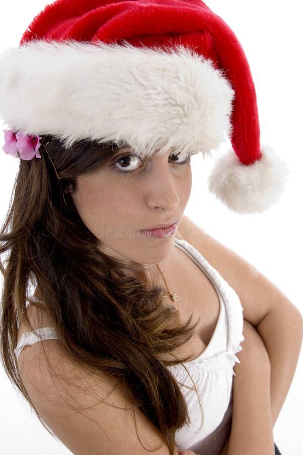 christmas glamorous hat woman στοκ φωτογραφία με δικαίωμα ελεύθερης χρήσης