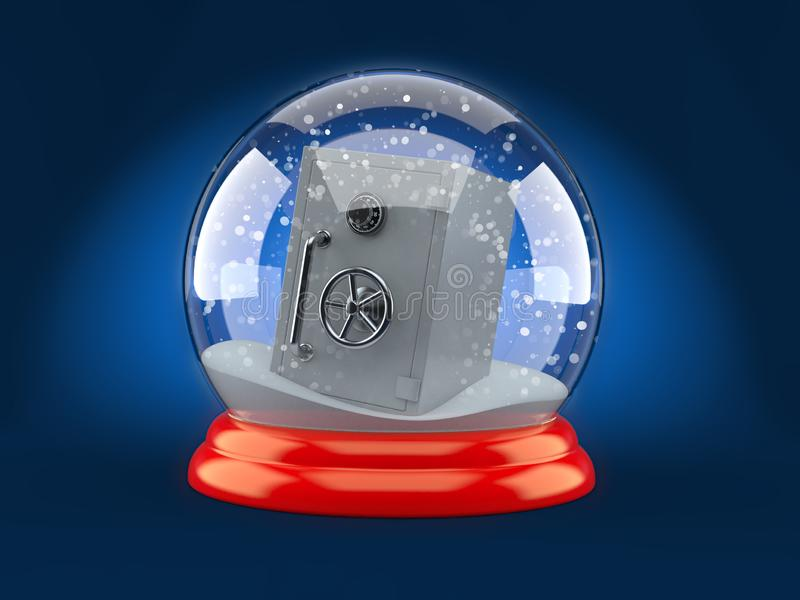 Christmas glass ball with safe. On blue background royalty free illustration