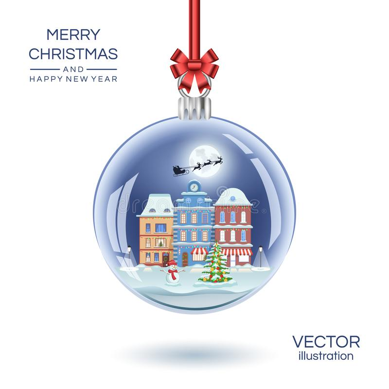 Christmas glass ball with small old town. Vector realistic Xmas snow globe illustration. vector illustration