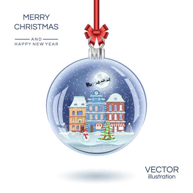 Christmas glass ball with small town houses. Vector realistic Xmas gift snow globe illustration. Isolated on white color. stock illustration