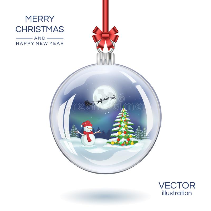 Christmas glass ball with snowman and Christmas fir tree. Vector Xmas snow globe. Illustration. royalty free illustration