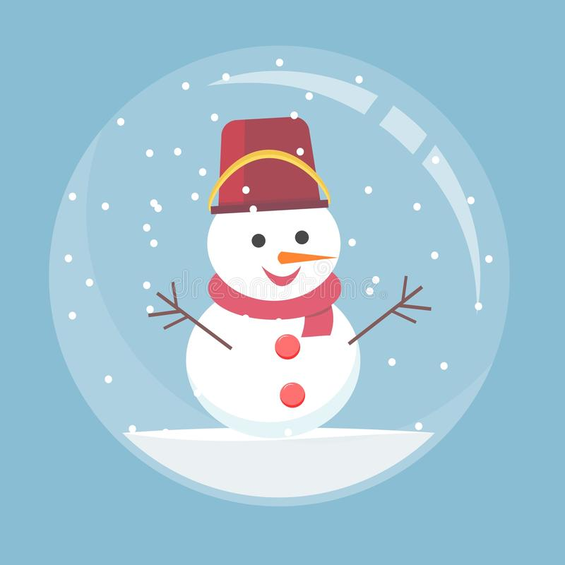 Christmas glass ball with a snowman inside. Spherical New Year snow globe in flat style. vector illustration