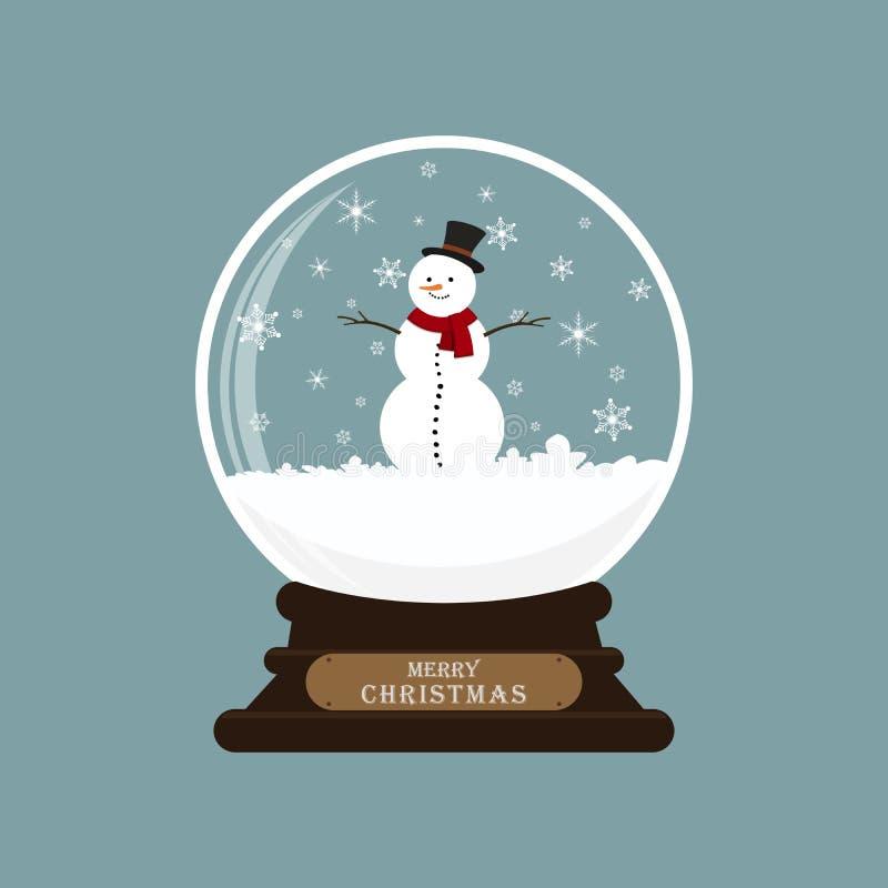 Christmas glass ball with snowman. Vector illustration. vector illustration