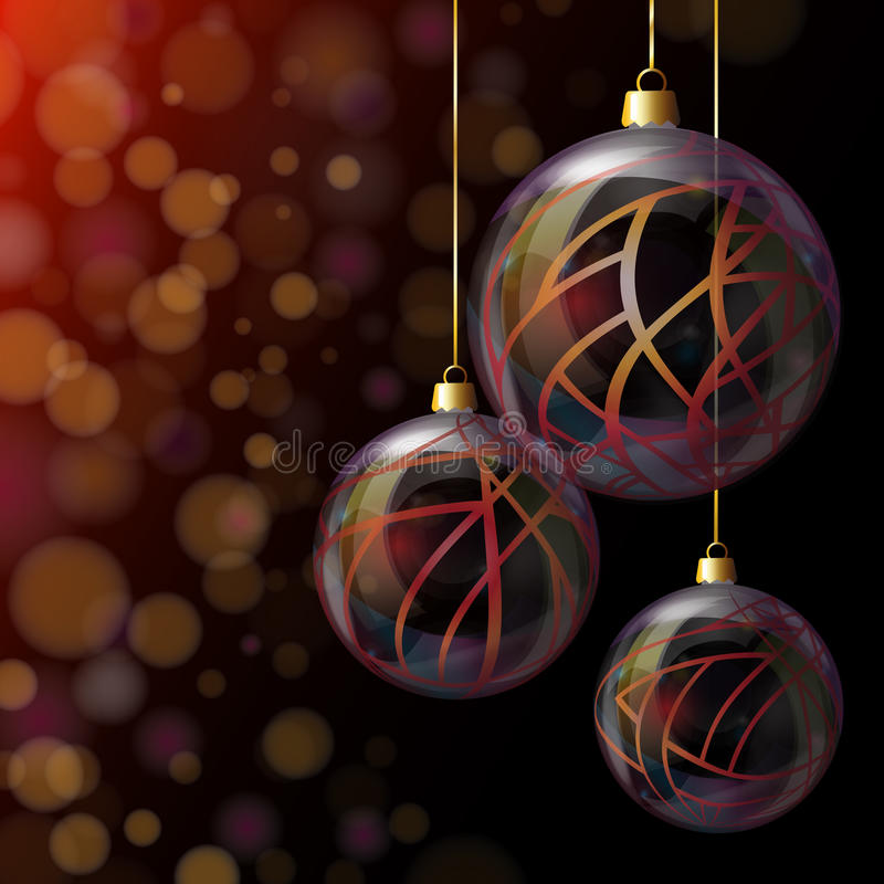 Christmas glass baubles. Elegant glass Christmas baubles against bokeh background royalty free illustration