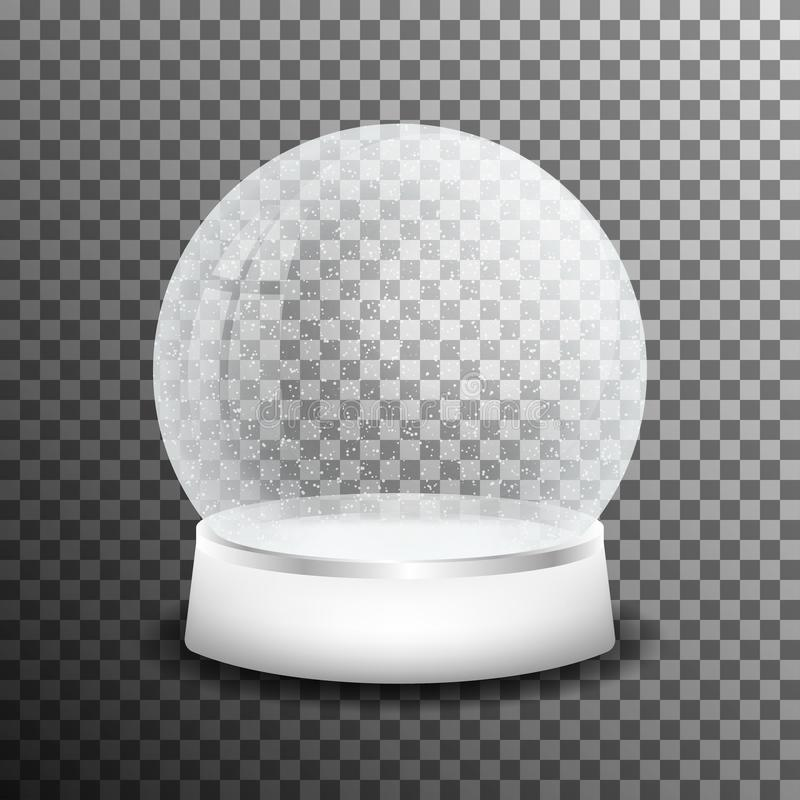 Christmas glass snow ball on transparent background. Realistic crystal snow ball with light reflection royalty free illustration
