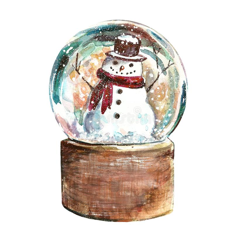 Christmas scene with glass snow globe with snowman. Winter Holiday hand drawn watercolor illustration stock illustration