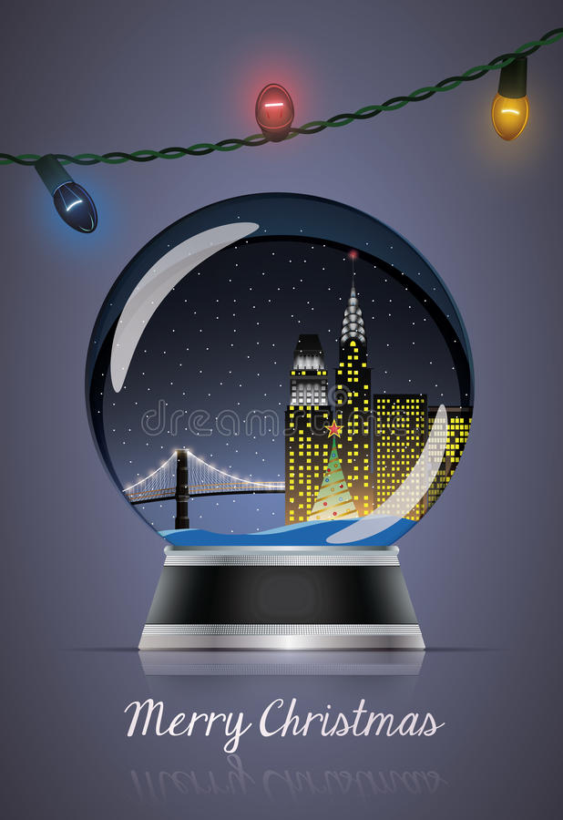 Christmas globe with lamps stock illustration
