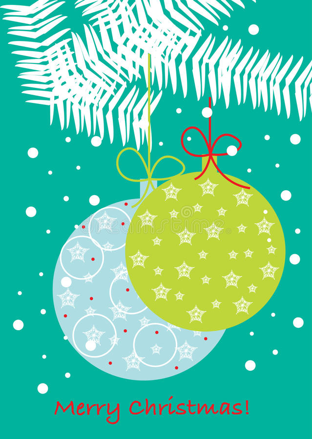Christmas globes on branch royalty free illustration