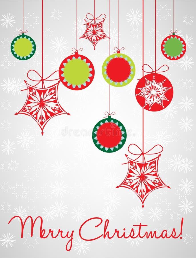 Christmas globes decorative card vector illustration