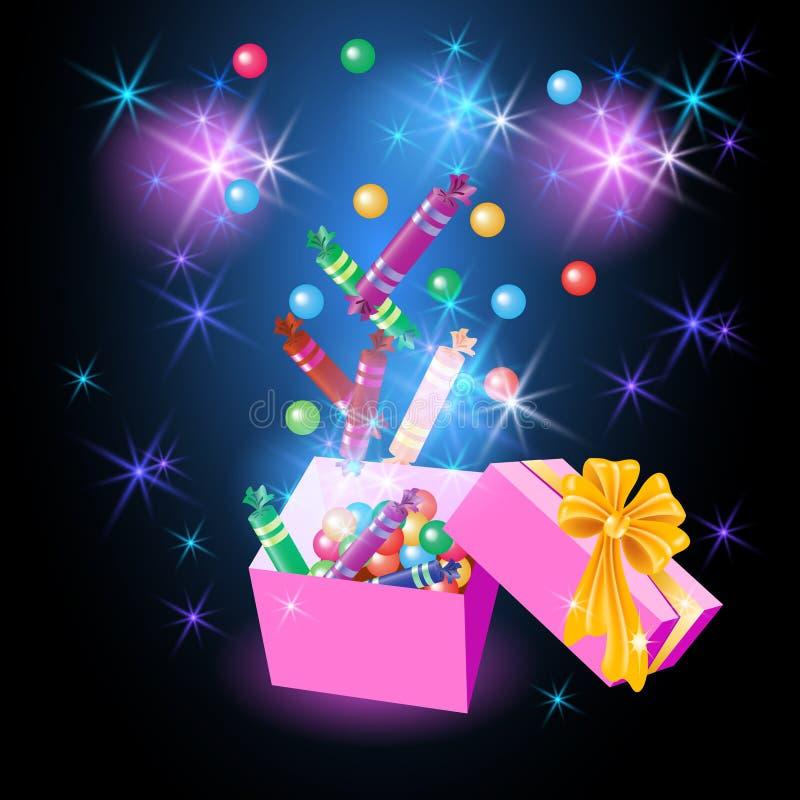 Christmas glowing gift box vector illustration